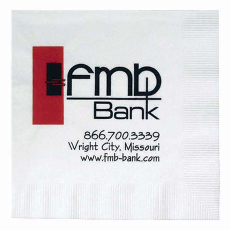 "5""x5"" White 1-Ply Coin Edge Embossed Beverage Napkins - The 500 Line"