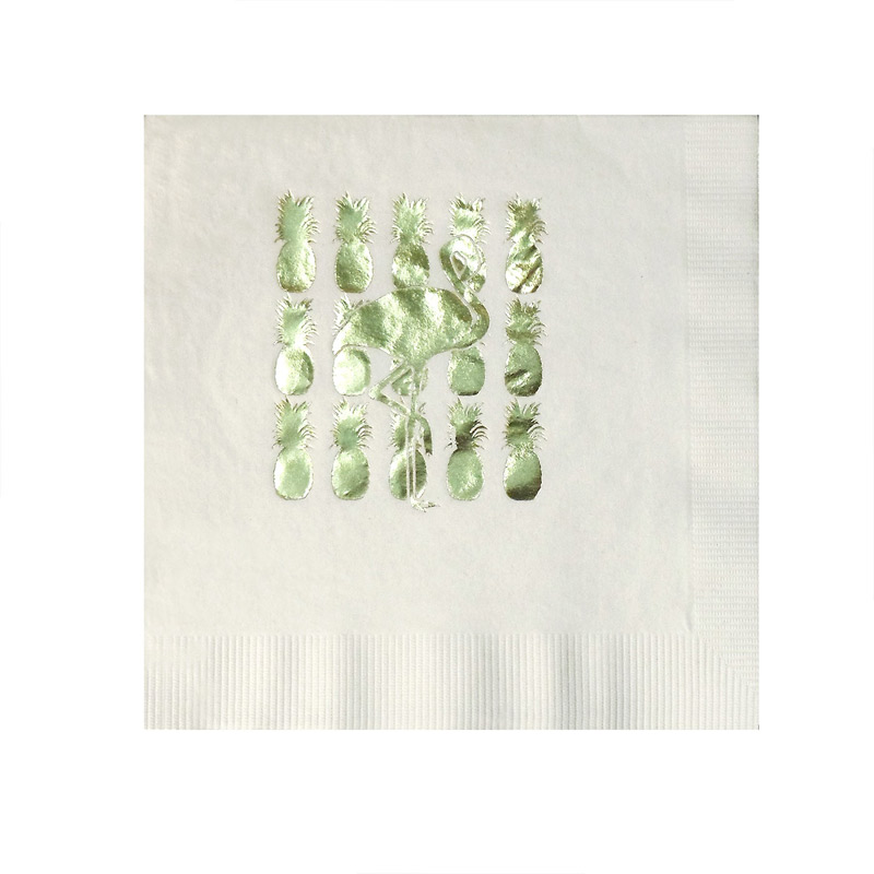 Foil Stamped White 3-Ply Luncheon Napkins