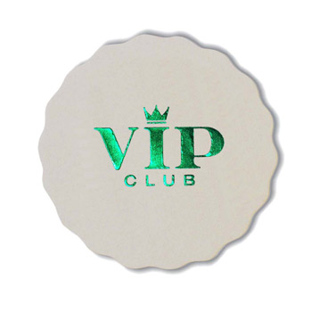 "Foil Stamped 40 Pt. 3.625"" Round Scalloped - White High Density Coasters - The 500 Line"