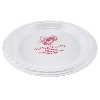 "6"" Premium White Plastic Plate - The 500 Line"
