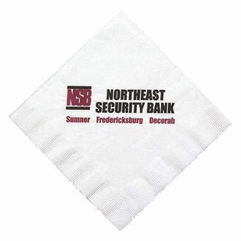 "6.5""x6.5"" White 1-Ply Coin Edge Embossed Luncheon Napkins - High Lines"